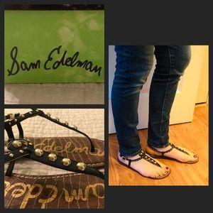 Sam Edelman Black Gigi Studded Sandals NIB Size 8